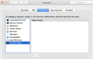 Keyboard settings in System Preferences showing Visual Studio app